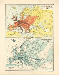 Rainfall Map Europe.1891 Victorian Map Density Of Population Europe Mean Annual