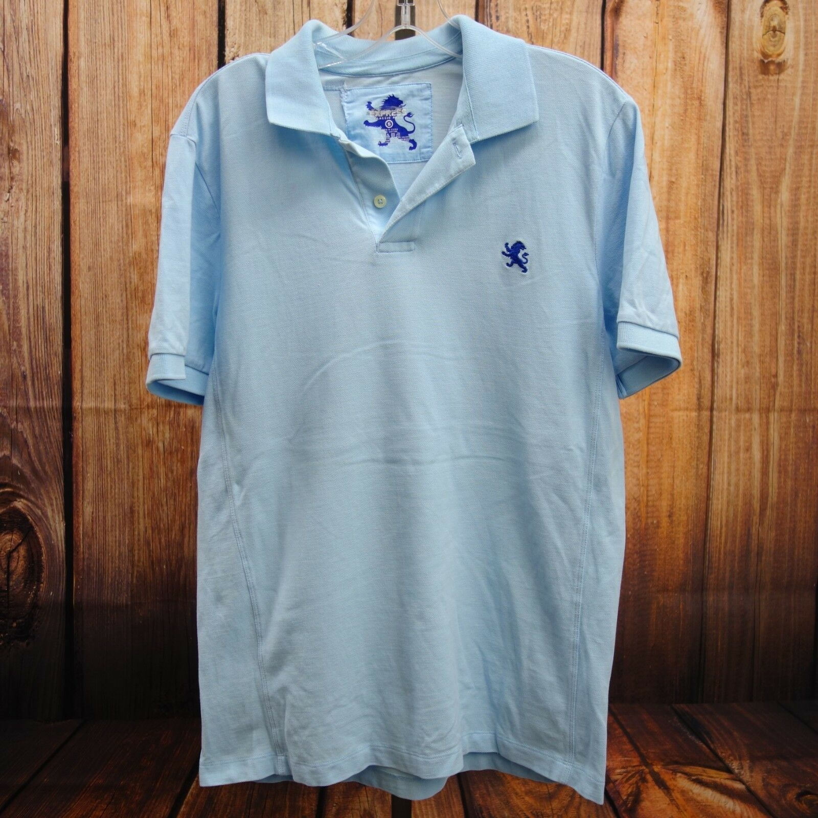 New Express Mens Light bluee Lion Logo Short Sleeve Classic Polo Shirt Size XL