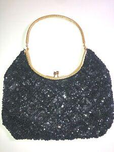 VINTAGE 50'S BLACK SEQUIN & BEADED GOLD EMBELLISHED WRISTLET CLUTCH PURSE BAG