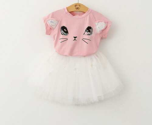 Cotton Puffy Princess Dress Carton Fashion Cute Comfortable Cat Girl T-shirt