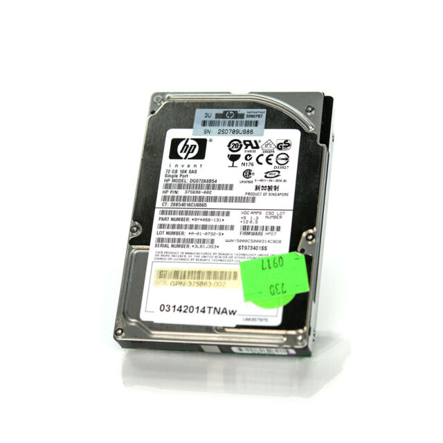 "HP 375696-002 Seagate 2.5"" 72GB 10K 8MB 3Gbps SAS Server Hard Drive ST973401SS"