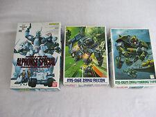 Lot of 3 Ban Dai Zaku Models-MS-06E~MS-06M~Alphonse Sp.~Instructions In Japanese