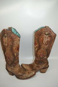 fffe21b3ec3 Corral vintage 6.5 M Aztec Embroidered leather WESTERN Boot snip toe ...
