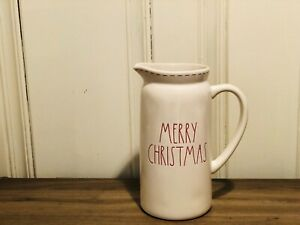 Rae-Dunn-By-Magenta-MERRY-CHRISTMAS-LL-Ivory-Ceramic-Pitcher-with-Red-Stitching