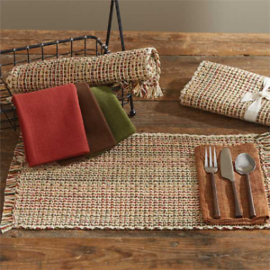 Park-Designs-TWEED-SPICE-Cotton-Placemat-Wine-Green-Gold-Brown-Ivory