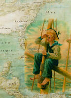 Vintage Sailor In Crows Nest Map Nautical Quilting Fabric Block