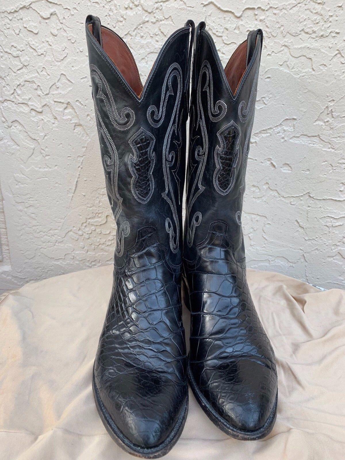 Eldorado Negro Caimán Corte al bies vientre Western botas Sz 12