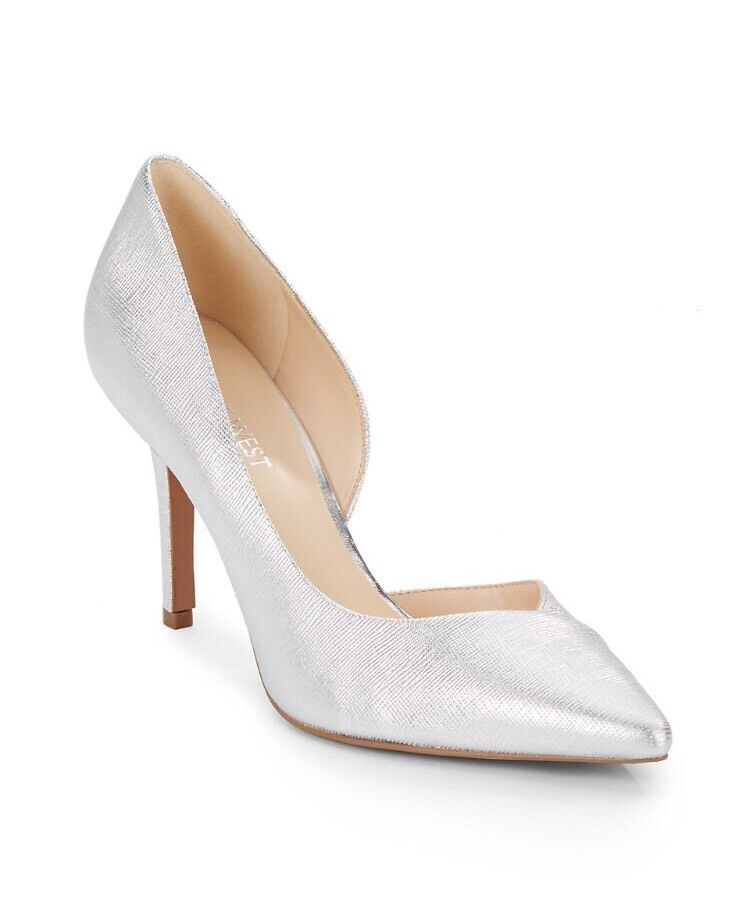 NINE WEST JOWZER SILVER PUMPS jUST In Größe 8