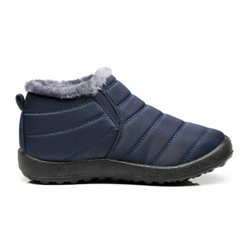 Mens Snow Boots Warm Fur Lined Ankle Waterproof Slip On Outdoor Winter Shoes
