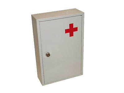 Health and Safety Medicine Cabinet in White and Metal Construction Lockable New