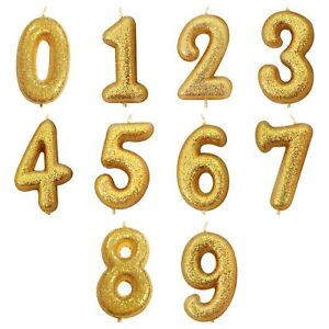 Image Is Loading NUMBER AGE GOLD GLITTER HAPPY BIRTHDAY CANDLES CAKE