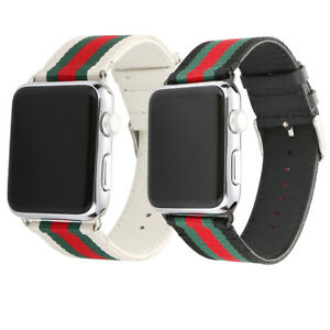 08826008ce2 for Apple Watch Band Gucci Stripe Pattern Sport Replacement Leather ...