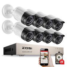 ZOSI 8CH HD 1080P Außen Überwachungskamera System Videoüberwachung Set 2TB HDD