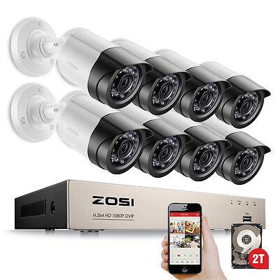 ZOSI 8CH HD 1080P DVR Außen Überwachungskamera System Videoüberwachung Set 2TB