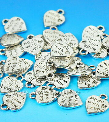 """Lot 50 Silver Plated MADE WITH LOVE Heart Charms 0.35"""" Pendants Beads DIY New"""