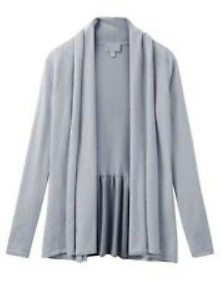Pure Collection Cashmere Peplum Waterfall Cardigan Grey Ladies UK 14 Box45 79 H