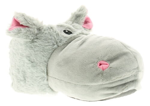 Wynsors Hippo Womens Ladies Novelty Slippers Grey UK Size