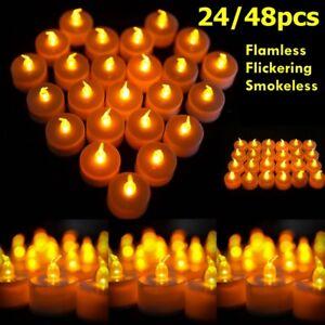 24-48-LED-Flackernd-Teelichter-Set-Elektrische-Warmweiss-Kerzen-Teelicht-Batterie