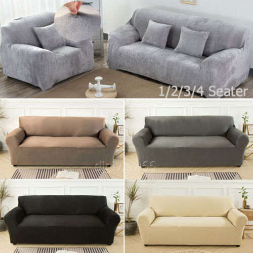 UK Velvet Elastic Stretch Sofa Covers 1//2//3//4 Seater Slipcover Protector Settee