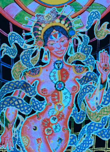 POSTCARD UV-Blacklight Fluorescent Glow-In-The-Dark Psychedelic Psy Goa Art Card