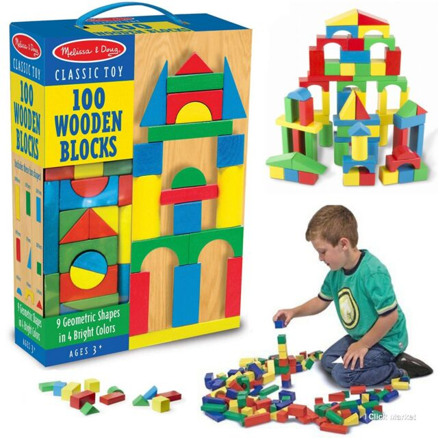 100 Piece Wooden Building Blocks Toy Set Classic Toys Melissa Doug Kids Games