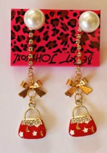 Betsey-Johnson-Crystal-Rhinestone-Enamel-Pearl-Handbag-Post-Earrings