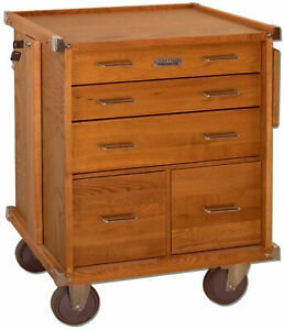 Gerstner-International-Oak-5-Drawer-Roller-Cabinet-with-Ball-Bearing-Slides-R-24