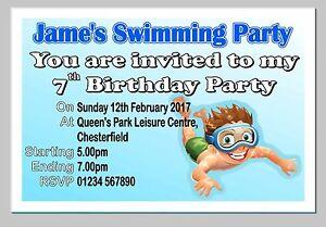 Personalised Swimming Birthday Party Invite Invites Invitation Cards