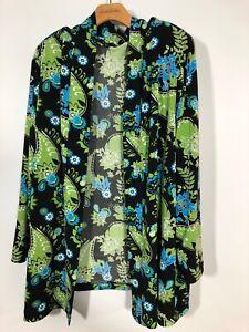 Details about Vikki Vi 2x Cardigan Open Front Green Floral Knit Top Blouse PLus size