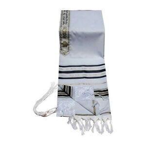 Tallit-Talit-Prayer-Shawl-Acrylic-18X72-Gold-Black-New-Kosher-From-Israel-kipa