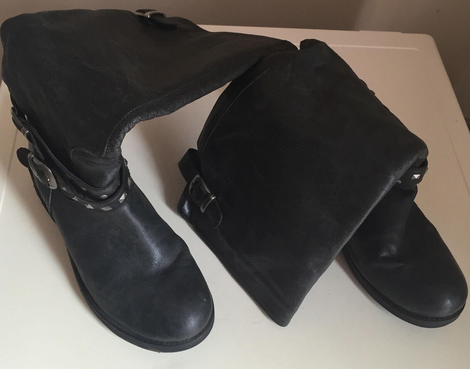 Les FEMMES DUNE Bottes en cuir noir-Femmes Longueur Genou Taille 37L