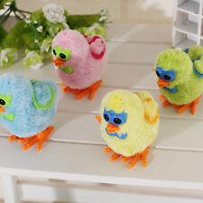Wind-up Jumping Cartoon Chicken Baby Children Plush Fluffy Clockwork Toys SLUS