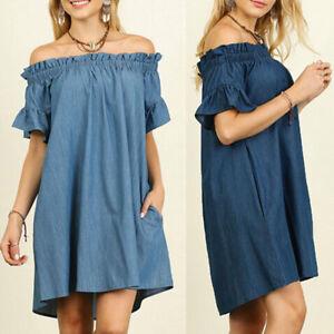 Plus Size Womens Off Shoulder Dress Bardot Denim Blouse Shirt Dress ...