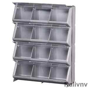 Bon Image Is Loading Stackable Portable 12 Bin Storage Organizer Lid Hardware