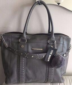 57971614a5 Steve Madden Bsocial Grey Convertible Satchel Tote Shoulder Handbag ...