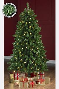 Details About Green Gold Tinsel Pre Lit Christmas Tree Warm White Led Lights 5 6 7ft