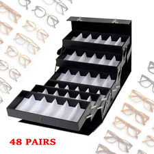 Sunglass Organizer Eyeglasses Collector 48 Pair Eyewear Display Pu Leather Case
