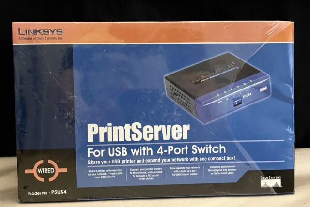 Cisco Linksys PSUS4 USB Print Server with 4-Port Switch New I