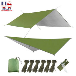 10x10ft-Camping-Tent-Hammock-Tarp-Rain-Fly-Cover-Waterproof-Shelter-Lightweight