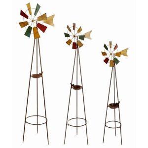 Image Is Loading Set Of 3 Large Metal Garden Windmills