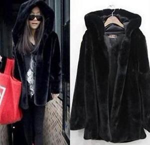 d47c12bce38 FL70 women black faux fur soft hooded fur coat fur jacket outwear ...