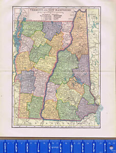 1904 States of VERMONT & NEW HAMPSHIRE - Antique State MAP | eBay