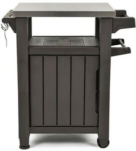 Image Is Loading Grill Storage Cart Outdoor Patio Prep Cabinet Station