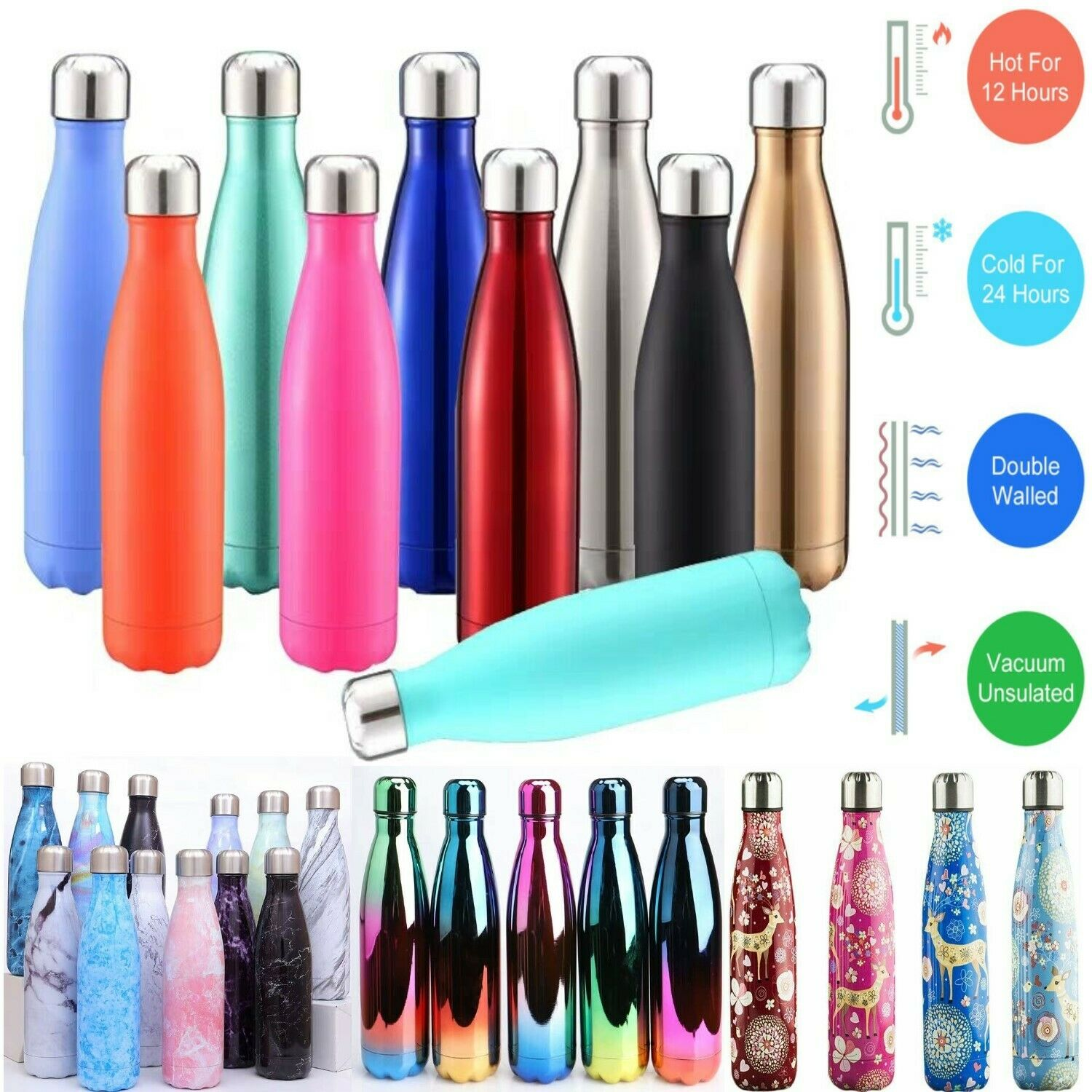 500-1000ml Stainless Steel Water Bottle Vacuum Insulated Gym Sport Chilly Flask