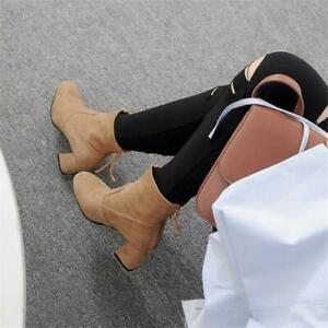 Women-039-s-Faux-Suede-Ankle-Boots-Block-Mid-Heel-Shoes-Back-Zip-Booties-Plus-Size
