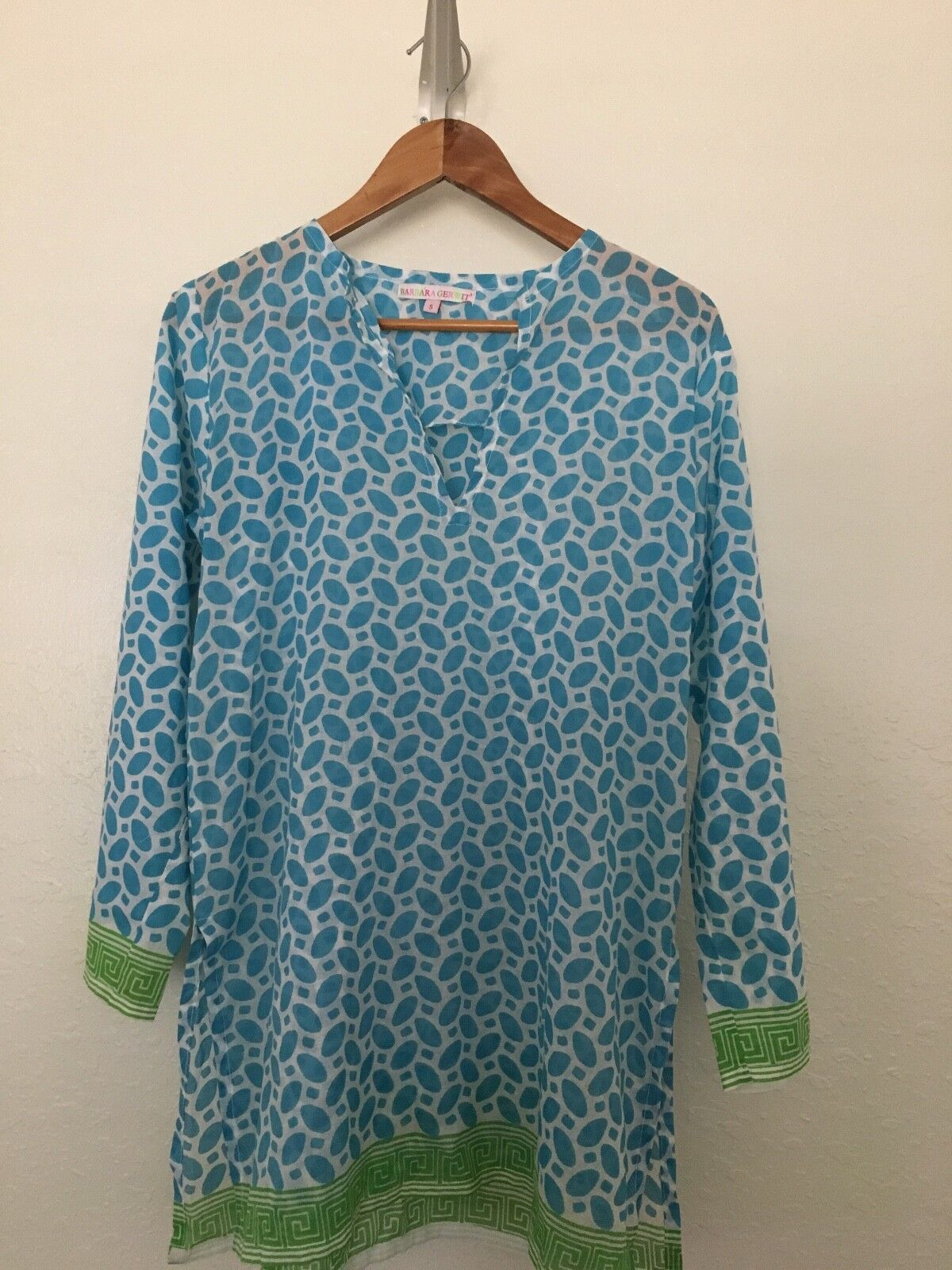 Barbara Gerwit Size Small Turquoise Lime Green Border Tunic 100% Cotton