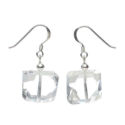 Ohrringe Ohrhänger aus Bergkristall /& 925 Silber facettiert Ohrschmuck für Damen