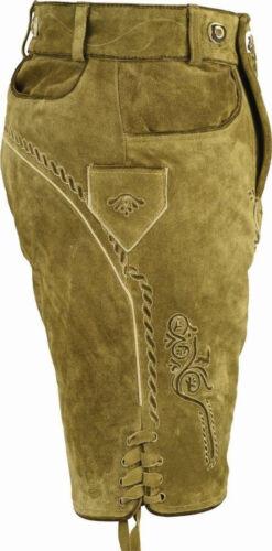 plastische Bestickung Lederhose sand-beige Träger kurze Trachtenlederhose
