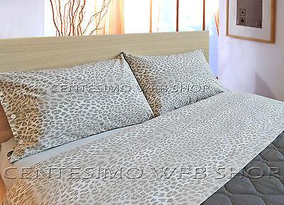 Lenzuola Leopardate Matrimoniali.Completo Lenzuola Matrimoniale Made Italy Puro Cotone Maculato