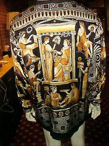 griego Italiano de Magnífico diseño del Barroco hombres de seda vintage Ceta Xl de raros los Camisa xqIfOpwI
